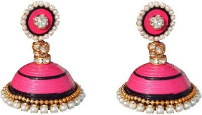 Jyotis Creations pink and black Paper Jhumki Earring