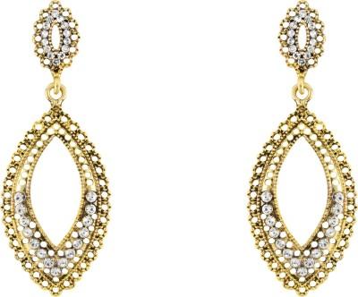 Donna White Fancy Leaf Crystal Metal Drop Earring