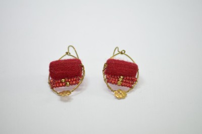 Ba No Batwo Red Rangakriti Handmade Earrings Cotton Dori, Plastic Dangle Earring