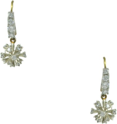 Orniza Victorian Earrings in Clear Color and Victorian Polish Brass Dangle Earring