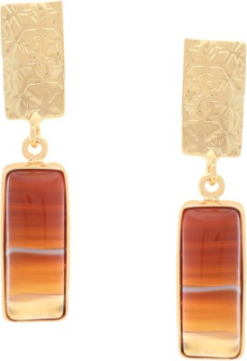 Orolush Stunning Brown Designer Calcy stone Copper Drop Earring