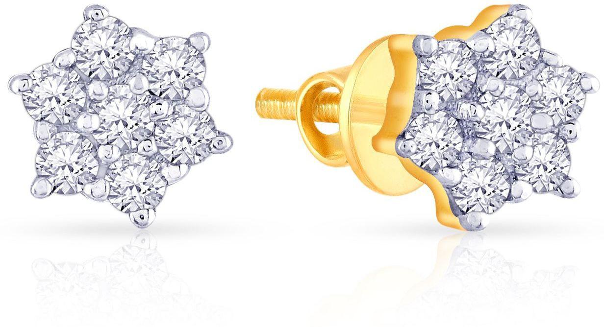 7f504daf75777 Malabar Gold And Diamonds E60564 Yellow Gold 18kt Diamond Stud Earring