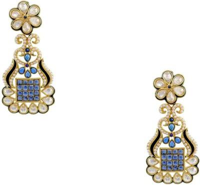Orniza Rajwadi Fancy Earrings in Blue Color and Golden Polish Brass Dangle Earring