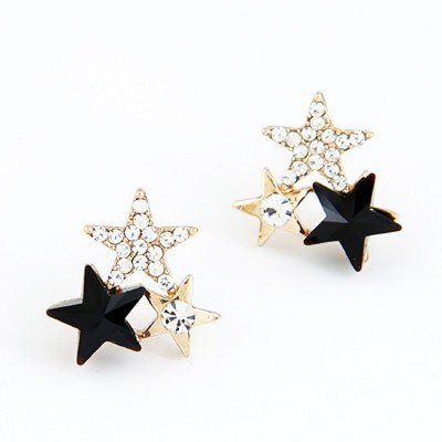 Cilver Fashion Three Stars In Crystal Gold And Black Alloy Stud Earring