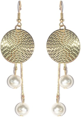 Royal Touch Gold Coin Funky College Collection Brass Drop Earring