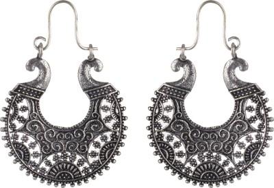 SAADGI Cute Black Silver Rich Lady Filigree Art Alloy Hoop Earring