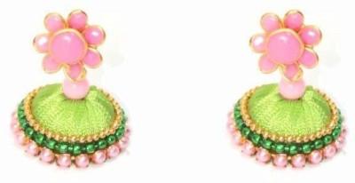 Craftworks green color Silk Dori Jhumki Earring