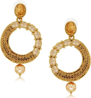 Spargz Designer Round Studded with LCT Color Stone Alloy Chandelier Earring