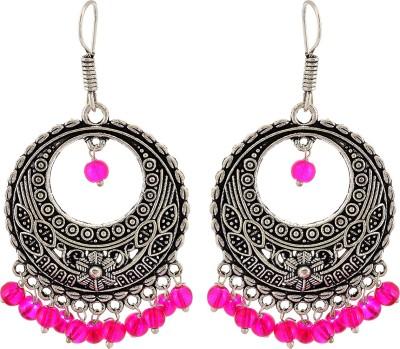 Subharpit Pink Preety Please Beads Metal Dangle Earring