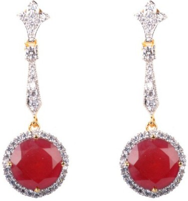 Dipshi Fashion Jewellery Red Pearl A D Stone Copper Drop Earring