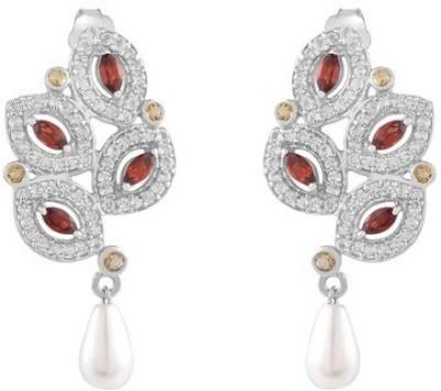 VelvetCase Leaf Shaped Gemstone & Pearl Earrings Pearl Silver Drop Earring