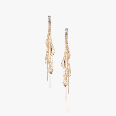 Shamoda Fashionable Golden Leaf Skeleton Metal Tassel Earring
