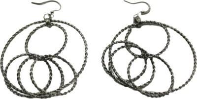 Bandish Gunmetal toned Multi Circular Alloy Drop Earring