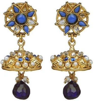 ACW Traditional Jhumka Studded with Blue Stones and Pearls Metal Jhumki Earring