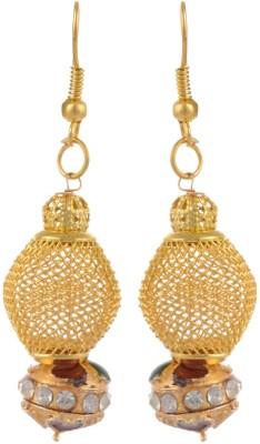 Heartzy Gold Alloy Meenakari Ball Dangle & Drop Alloy Dangle Earring