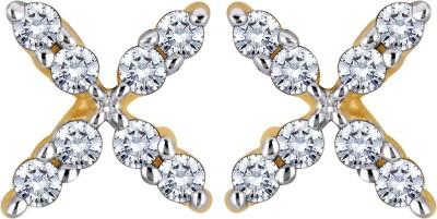 Glitz Design 0.18 Ctw Cross Yellow Gold 14kt Diamond Stud Earring