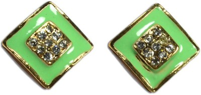 Colors of Sin Square enamel with crystals - Green Metal Stud Earring