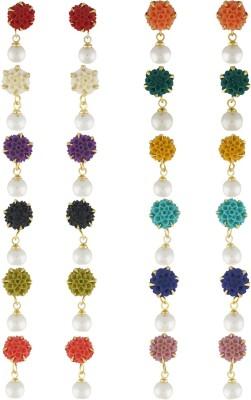Classique Designer Jewellery Beauriful Flower Shape Pearl Alloy Earring Set
