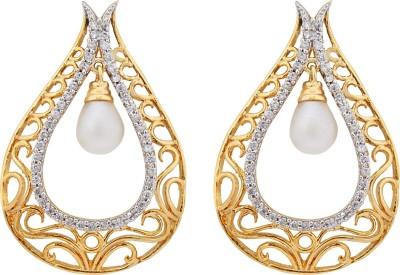 Eloiny American Diamond Two Tone With Meena Cubic Zirconia Brass, Alloy Drop Earring