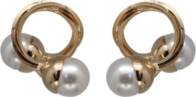 Siyora Bling Off-White Brass Stud Earring