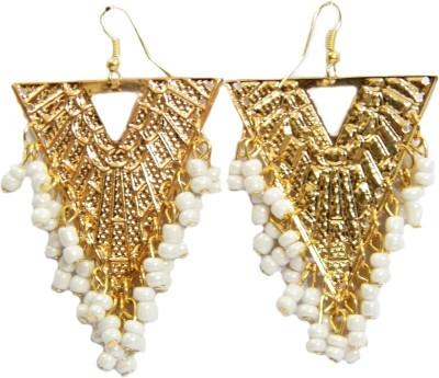 GiftPiper Triangle Shape Earrings - White Beads Alloy Earring Set