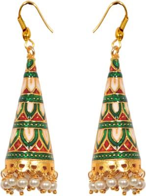 The Trendy Trendz Traditional Rajasthani Meenakari Copper, Alloy Jhumki Earring