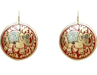 UV Instyle Women's Golden+Red Danglers Alloy Dangle Earring