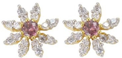 Craftswale Cubic Zirconia, Ruby Alloy Stud Earring