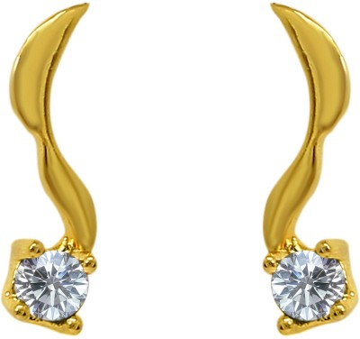 Mahi White Delicate Leaf Cubic Zirconia Alloy, Brass Stud Earring