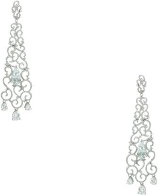 Orniza CZ Diamond Earrings in Clear Color and Rhodium Polish Brass Dangle Earring