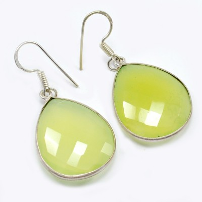 Silvesto India 1457 Chalcedony Sterling Silver Drop Earring