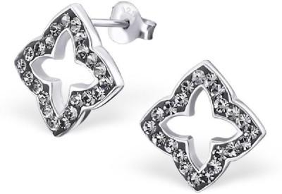 Maayin Cross Flower - Black Crystal Silver Stud Earring