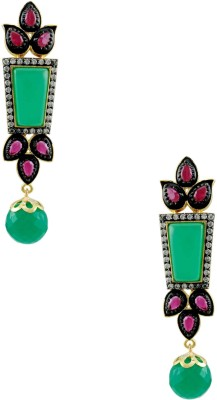 Orniza Long Trapezium Shaped Ruby and Emerald Stone Earrings Brass Drop Earring