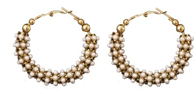 Itz About U Pearl Sparkle Alloy Hoop Earring