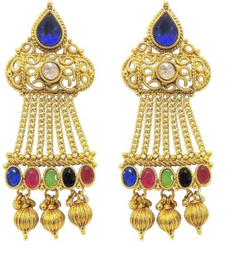 Satyam Jewellery Nx Antique Colourful Pearl Copper Drop Earring