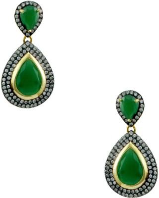 Orniza Designer Earrings in Emerald Color and Black Gold Polish Brass Dangle Earring