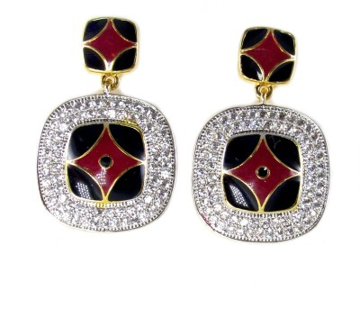Dolls N Queens American Diamond 049A Cubic Zirconia Copper Drop Earring