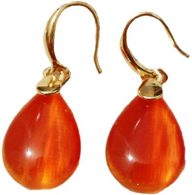 Bohocraft Parisienne Elegant, Classy Orange Red Crystal Gold Waterdrop Alloy Dangle Earring