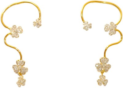 Women Trendz Golden Polish With Cz Stones Brass Cuff Earring