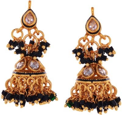 Gehnamart Stylish Black Beads Alloy Jhumki Earring