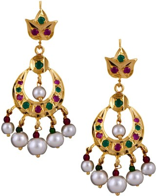 Mahaveer Pearls Gold Polished Traditional Pearls & Coloured Stones Pearl Brass Chandbali Earring