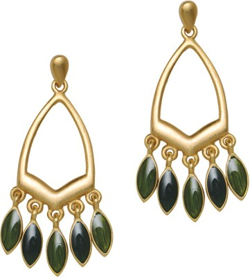 Sparkle Street Gold Spikes Alloy, Stone Drop Earring