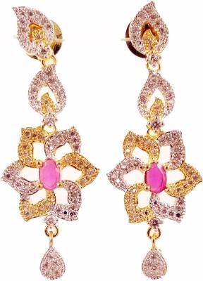 Ojas Jewels FLOWRY RED Zircon Alloy Dangle Earring