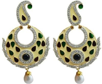 My Sara Enamelled Sparkle Cubic Zirconia Brass Chandbali Earring