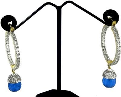 Kaass Blue Small Round Earing Carnelian, Zircon Alloy Hoop Earring