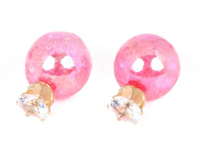 Cilver Fashion Trendy Double faced shattered glass design Glass Stud Earring