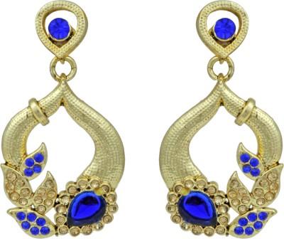 Pankh Antique Blue Topaz Brass Drop Earring