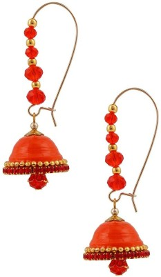 Halowishes Elegant Look Orange Hancrafted Kidney Hook Jhumka Paper Hoop Earring