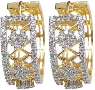 Sheetal Jewellery Cubic Zirconia Brass, Alloy Huggie Earring