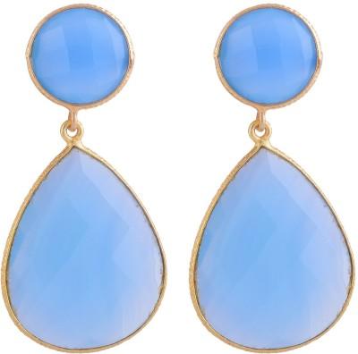 Jewel Paradise Chalcedony Brass Drop Earring